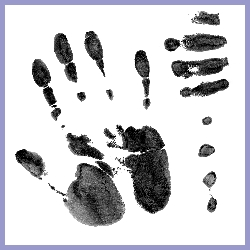 A palm print - representing use of the hand for manipulation in chiropractic treatments
