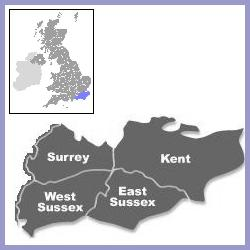 Map of area of south east England covered by Gill Maybury